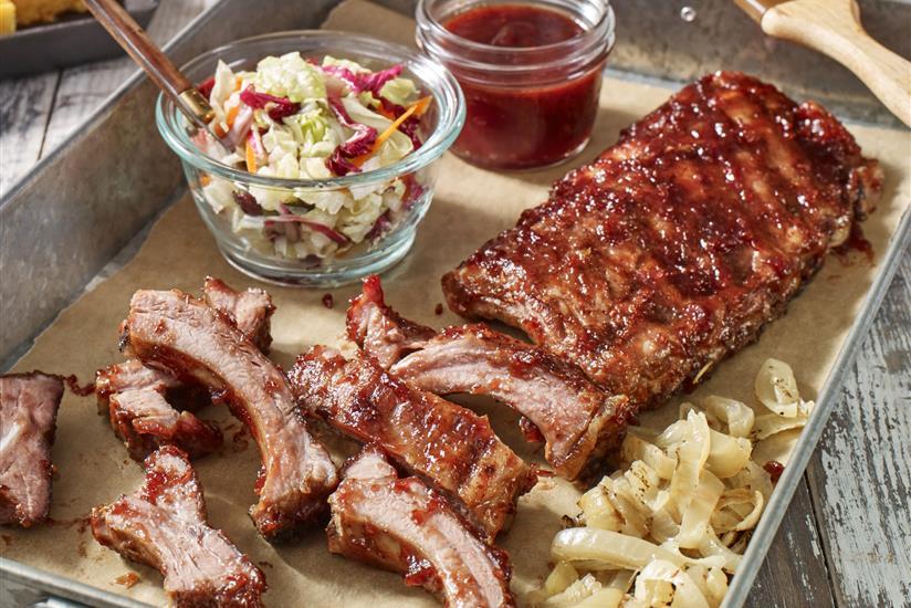 Cotes de porc aux oignons aux Craisins Cranberries Sechees et a la sauce BBQ